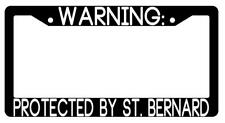 Warning Protected By St Bernard Black Plastic License Plate Frame Auto