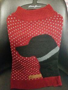 Eddie Bauer Pet Dog Knit Maroon sweater with Black Labrador NWT Medium