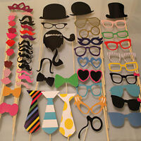 58PCS Masks Photo Booth Props Mustache On A Stick Birthday Wedding Party DIY JB