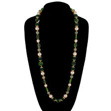 "Necklace Czech Bohemian Glass Bead Beaded Long 30"" Green Faux Pearl"