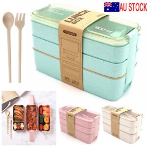 3-Layer Bento Box Students Lunch Box Eco-Friendly Leakproof 900ml Food Container