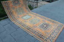 "Vintage Handmade Turkish Anatolian Orange Office Decorative Oushak Rug 140""x60"