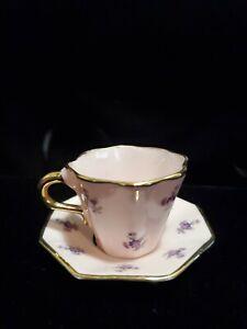 Vintage LENEIGE Porcelain hand painted Cup & Saucer / Floral, Gold, Pink Tea Cup