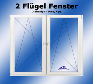 Kunststofffenster 2 Flügel DK-L / DK-R  900 x 1000 Breite x Höhe in mm