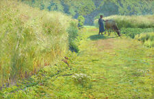 Oil painting emile claus - Summer season villager with cow in landscape canvas