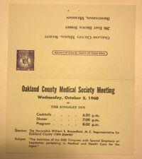 1960 Postcard W/ Reply Oakland County Medical Society Meeting  Birmingham MI