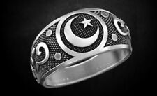 Antique Heavy Men's Crescent Engagement Ring Oxidized In 925 Silver