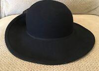 Vintage Bollman Hat Co. black doeskin felt 100% wool rose flower trim fedora hat