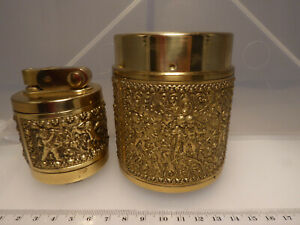 Erhard & Söhne Zigarettenspender  Tischfeuerzeug Benzin goldfarben Putten Relief