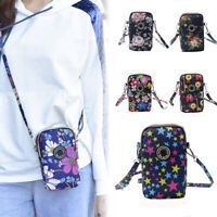 Women Girls Floral Print Cross Body Cell Phone Shoulder Pouch Bag Purse Wallet