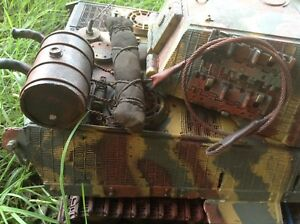 """RC TANK 1/16 Scale PETROL DRUM ,CAMO ROLL UP and 14"""" METAL TOW CABLE SET"""