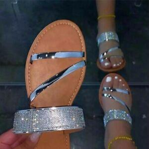 Womens Flat Slippers Shiny Rhinestones Strap Sandals Summer Slip On Slides Shoes