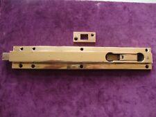 """Fino Antiguo Bronce Sólido 12"""" Art Deco Mecánico Seguridad Perno de puerta y mantener"""