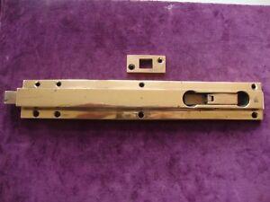 "Fine antique 12"" solid bronze Art Deco mechanical  security door bolt and keep"