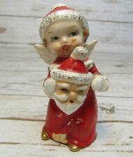 Vintage Christmas Angel Girl Figurine Ceramic w/ Santa Mask Hand Painted