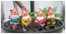 Garden ornament - set of 4 working gnomes - garden decoration