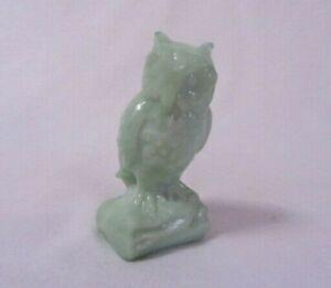 BOYD ART GLASS  OWL # 120 AQUA DIAMOND SOLID GLASS B IN DIAMOND