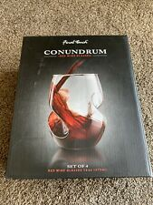 4 Pc Set Final Touch Conundrum 16 Ounce Red Wine Hand Blown Curved Glasses