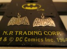 Vintage Licensed DC Comics Batman Logo Dangling Sterling Silver Earrings MOC #1