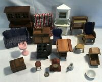 Large Lot of Old Dollhouse Furniture, Items & Accessories. Cast Iron Stove/Oven!