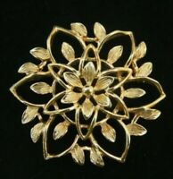 Vintage Poinsettia CHRISTMAS Brooch Flower Gold Tone Signed Sarah COV Coventry