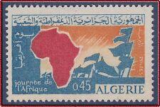 ALGERIE N°386** Journée de l'Afrique, CARTE, 1964 ALGERIA Africa Map, MNH