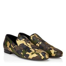 7eefeaa7cb2 JIMMY CHOO Men's Sloane Olive Green Mix Metallic Camouflage Leather  Slippers NWT