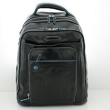 Man Backpack PIQUADRO BLUE SQUARE black leather rucksack for laptop CA1813B2 N