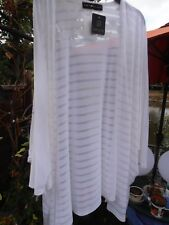 Join Clothes Duster Jacket  Long Burned Out Stripe -  White - One size