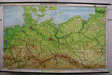 Schulwandkarte Map del norte de Alemania Pomerania ostpreussen Westpreussen 1967 241x154