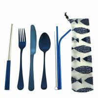 Matte Blue Silverware Set 18/10 Stainless Steel Portable Travel Cutlery 7pcs/set
