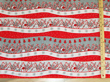 Frosty Friends Novelty Stripe Christmas FLANNEL Fabric by the 1/2 Yard #F6984