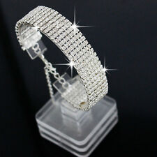 Women's Fashion Crystal Rhinestone Bracelet Bangle Wedding Bridal Wristband NEW