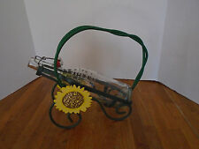 WROUGHT IRON SUNFLOWER WINE BOTTLE HOLDER, HAND PAINTED + VINTAGE FRENCH BOTTLE