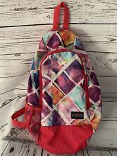 Jansport Sling Crossbody Backpack Pink Print Bookbag One Single Strap School Bag