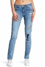 Democracy Feather Embroidered Distressed Women's Pant Jeans Blue Size 8