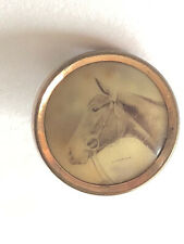 """Famous American Racehorse """"STAMINA"""" 1900's Horse Cameo Antique Waistcoat Button"""