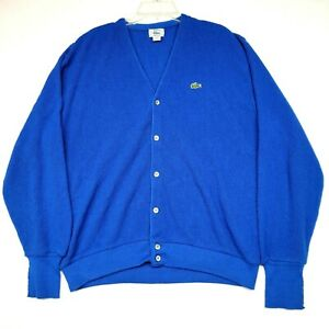 Vintage Izod Lacoste Womens Cardigan Size XL Blue Button Made In USA