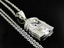 Argento Sterling gesù Pezzi Vero Ciondolo Diamante & Catena finitura oro bianco
