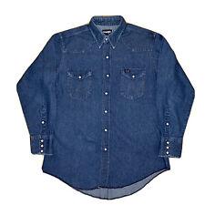 Vintage L Wrangler Jeans Western Crudo Orlo Perle Scatto Camicia Coda Lunga Made