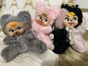 Vintage Rubber Face Plush Bears Lot Of 3