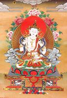 32 Inch Brocade Wood Scroll Tibet Thangka  Buddha Of Purification - Vajrasattva