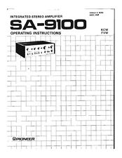 Pioneer SA-9100 Amplifier Owners Manual