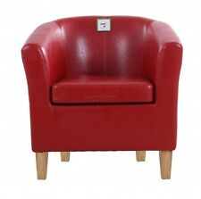 Red Vintage Tub Chair Small Retro Armchair Fireside Luxury Furniture Wooden Legs