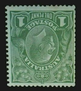 SG95bw - 1928 KGV Green 1d One Penny - Inverted SMW Die II - Cat $3800 1a