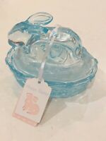 Bunny Rabbit Glass Candy Dish Light Blue Easter Decor Basket Nest Trinket VTG