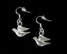 SILVER DOVE OF PEACE SIGN BIRD EARRINGS~CHRISTMAS EASTER GIFT~STERLING HOOKS