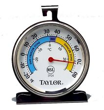 Taylor 5924 Refrigerator/Freezer Thermometer,-20 To 80 Deg F,3-1/4""
