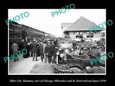 OLD 8x6 HISTORIC PHOTO OF MILES CITY MONTANA THE RAILROAD DEPOT STATION c1930