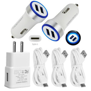 For LG Stylo 6 V30 Moto Z2 Z Force Z4 X4 Power USB Wall Car Charger Type C Cable